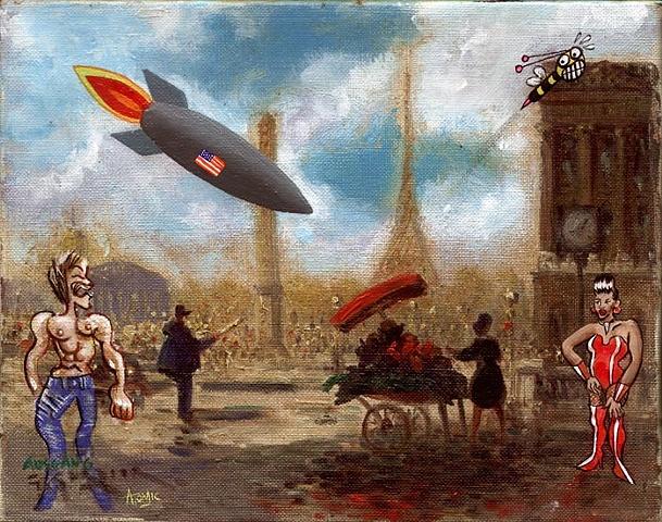 """Anthony Ausgang"", ""jason atomic"", found canvas, paris, street scene,"