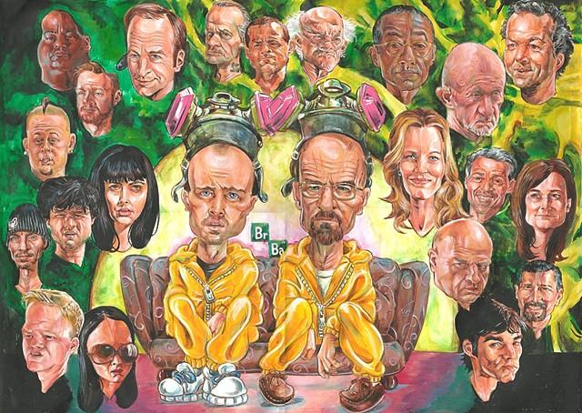 Breaking Bad full cast caricature