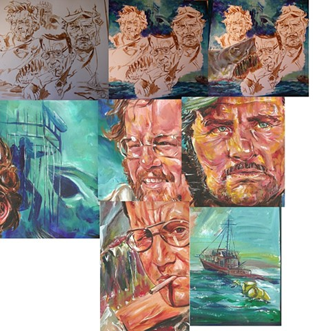 Jaws - stages of the painting