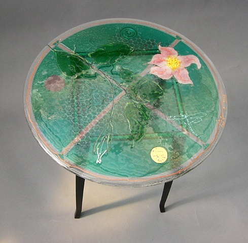 Three Lilies Glass Table