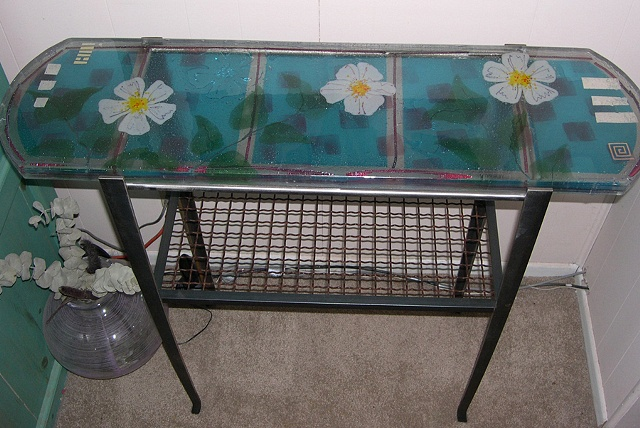 Gift of Blossoms Glass & Steel table