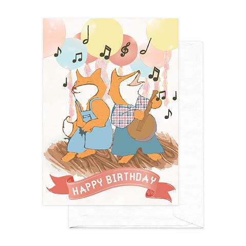 Foxy Party Birthday Card
