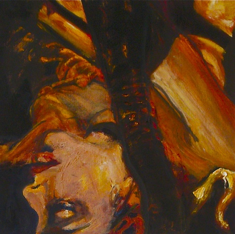 Expressionistic painting of a topless woman
