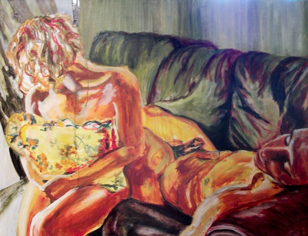 Male and Female figures on a Couch, neither gazing at the viewer directly