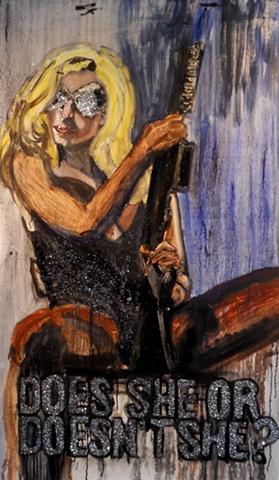 Lady Gaga with a Machine gun