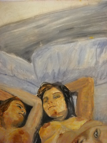 Expressive painting of three women