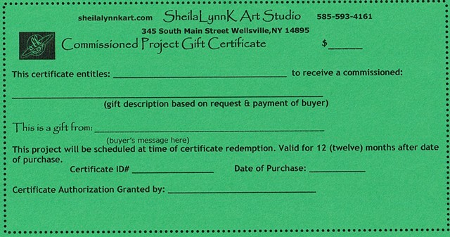 Commissioned Projects Gift Certificates