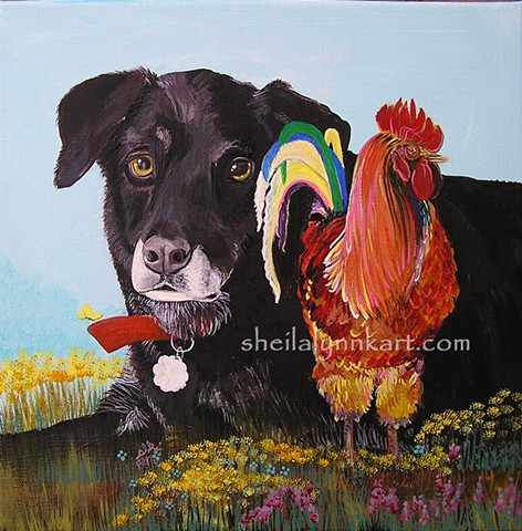Roosters, Black Labs, Chickens, Affordable Art, Chicken Art, Chicken Friends, WellsvilleNY,