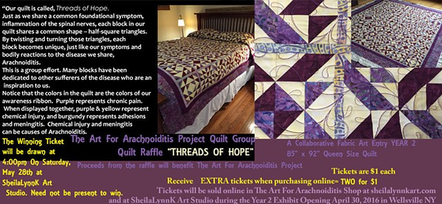 Arachnoiditis Quilt Raffle, Art For Arachnoiditis, Threads Of Hope, Fabric Art, Art Therapy