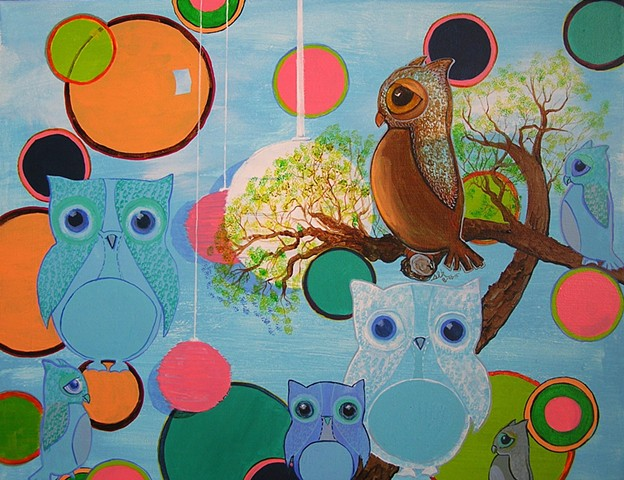 nursery art, owls, deco owls