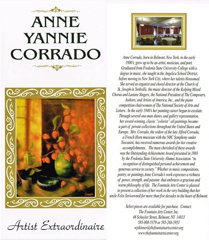 Anne Corrado, Belmont NY, Fountain Arts Center, Artists Among Us