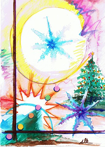 hand painted Christmas Cards, fine art Christmas cards