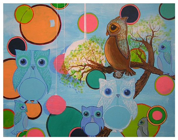 Owl Art, Nursery Art, Retro Owl