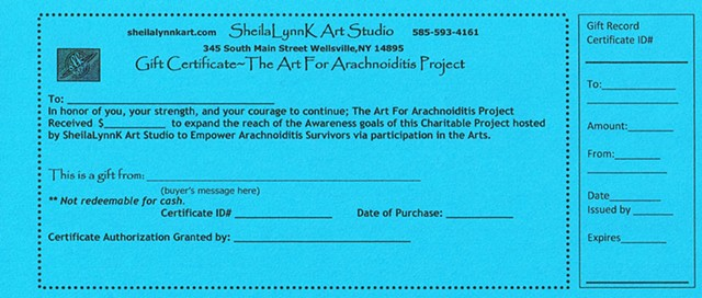 art for arachnoiditis project gift certificate