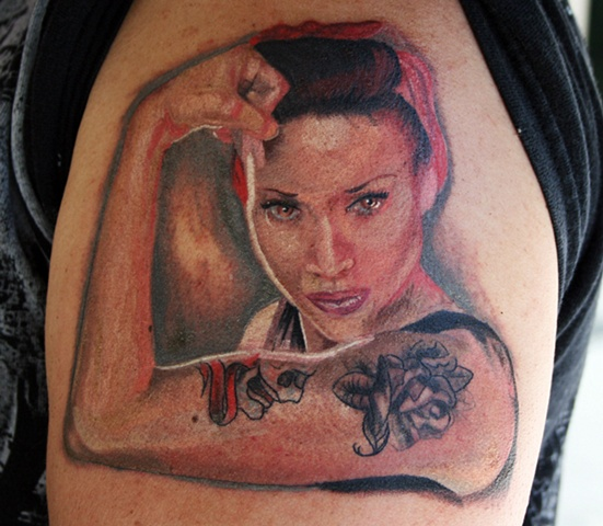 """ We can do It"" Color Portrait Tiffany Garcia Tattoo Artist Custom Tattoos located in Long Beach, Huntington Beach, Carson, Palos Verdes, Los Angeles, West Hollywood, Pacific Coast Highway and surrounding areas in Southern California."