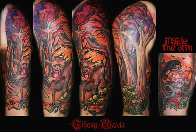 """Man eating Cow""  or cow eating  man Vegan by Tiffany Garcia Tattoo Artist Original Custom Tattoos located in Long Beach, Huntington Beach, Carson, Palos Verdes, Los Angeles, West Hollywood, Pacific Coast Highway and surrounding areas in Southern Californ"