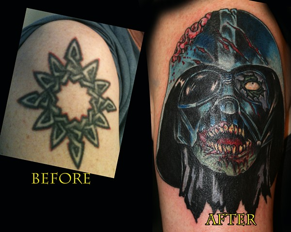 Coverup Piece-Undead Darth Vader  by Tiffany Garcia Female Tattoo Artist located in Long Beach, Orange County, LA, Huntington Beach, Carson, Palos Verdes, Los Angeles, West Hollywood, Pacific Coast Highway and surrounding areas in Southern California.