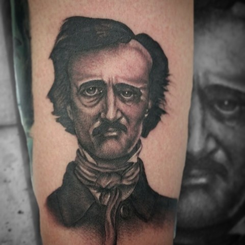 Edgar Allen Poe by Female tattoo artist Tiffany Garcia