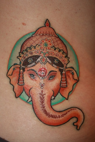 Elephant God Ganesha by Tiffany Garcia Tattoo Artist Custom Tattoos located in Long Beach, Huntington Beach, Carson, Palos Verdes, Los Angeles, West Hollywood, Pacific Coast Highway and surrounding areas in Southern California.