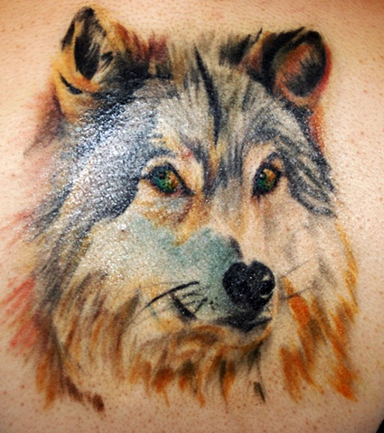 Wolf  by Tiffany Garcia Female Tattoo Artist located in Long Beach, Orange County, LA, Huntington Beach, Carson, Palos Verdes, Los Angeles, West Hollywood, Pacific Coast Highway and surrounding areas in Southern California.