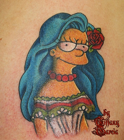 Mexican Marge Simpson Lets Her Hair Down by Tiffany Garcia Tattoo Artist Original Custom Tattoos located in Long Beach, Huntington Beach, Carson, Palos Verdes, Los Angeles, West Hollywood, Pacific Coast Highway and surrounding areas in Southern Californi