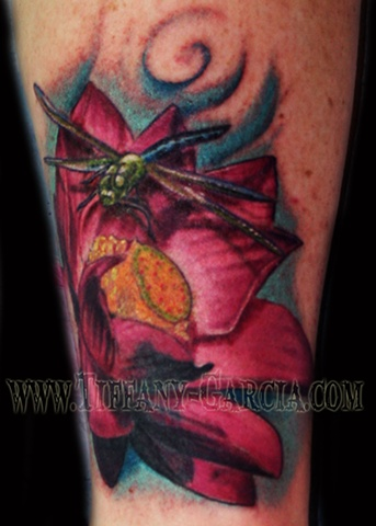 Colorful Flower by Tiffany Garcia Female Tattoo Artist located in Long Beach, Orange County, LA, Huntington Beach, Carson, Palos Verdes, Los Angeles, West Hollywood, Pacific Coast Highway and surrounding areas in Southern California.