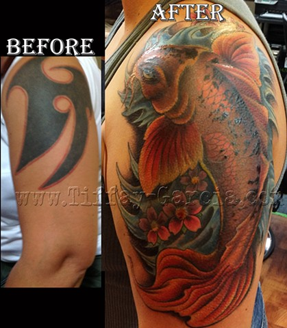 Koi Coverup  by Tiffany Garcia #1 Female Tattoo Artist located in Long Beach, Orange County, LA, Huntington Beach, Carson, Palos Verdes, Los Angeles, West Hollywood, Pacific Coast Highway and surrounding areas in Southern California.