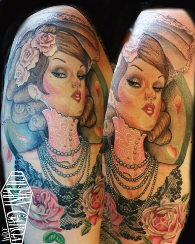 Color Portrait of a Proper Lady by Tiffany Garcia Top Female Tattoo Artist located in Long Beach, Orange County, LA, Huntington Beach, Carson, Palos Verdes, Los Angeles, West Hollywood, Pacific Coast Highway and surrounding areas in Southern California.