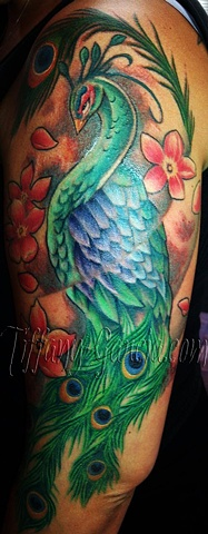 Colorful Peacock  by Tiffany Garcia Female Tattoo Artist located in Long Beach, Orange County, LA, Huntington Beach, Carson, Palos Verdes, Los Angeles, West Hollywood, Pacific Coast Highway and surrounding areas in Southern California.