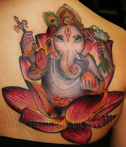 Elephant God Ganesha by Tiffany Garcia Female Tattoo Artist located in Long Beach, Orange County, LA, Huntington Beach, Carson, Palos Verdes, Los Angeles, West Hollywood, Pacific Coast Highway and surrounding areas in Southern California.