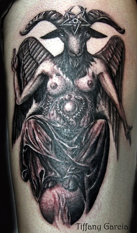 Baphomet in Black and grey  by Tiffany Garcia Tattoo Artist by Tiffany Garcia Tattoo Artist Original Custom Tattoos located in Long Beach, Huntington Beach, Carson, Palos Verdes, Los Angeles, West Hollywood, Pacific Coast Highway and surrounding areas in