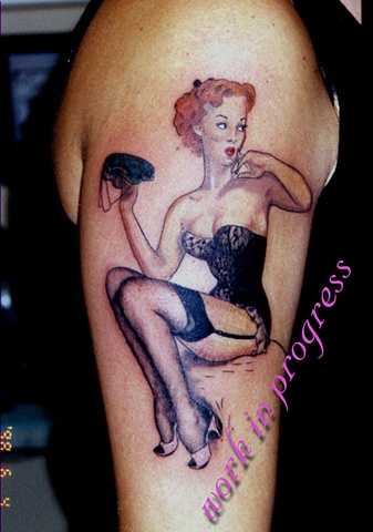 Classic Pinup Girl by Tiffany Garcia Tattoo Artist Original Custom Tattoos located in Long Beach, Huntington Beach, Carson, Palos Verdes, Los Angeles, West Hollywood, Pacific Coast Highway and surrounding areas in Southern California.