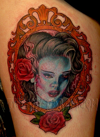 Undead Bride by Tiffany Garcia Top Female Tattoo Artist located in Long Beach, Orange County, LA, Huntington Beach, Carson, Palos Verdes, Los Angeles, West Hollywood, Pacific Coast Highway and surrounding areas in Southern California. Custom Tattoos
