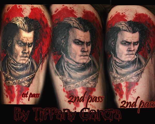 Sweeney Todd by Tiffany Garcia Tattoo Artist Original Custom Tattoos located in Long Beach, Huntington Beach, Carson, Palos Verdes, Los Angeles, West Hollywood, Pacific Coast Highway and surrounding areas in Southern California.