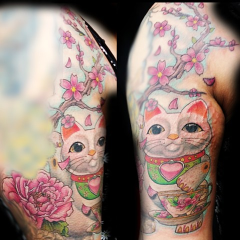 Lucky Cat by female tattoo artistTiffany Garcia