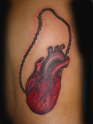 Human Heart by Tiffany Garcia Tattoo Artist Original Custom Tattoos located in Long Beach, Huntington Beach, Carson, Palos Verdes, Los Angeles, West Hollywood, Pacific Coast Highway and surrounding areas in Southern California.