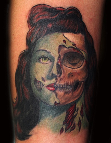 Undead Beauty Portrait  by Tiffany Garcia Tattoo Artist Original Custom Tattoos located in Long Beach, Huntington Beach, Carson, Palos Verdes, Los Angeles, West Hollywood, Pacific Coast Highway and surrounding areas in Southern California.