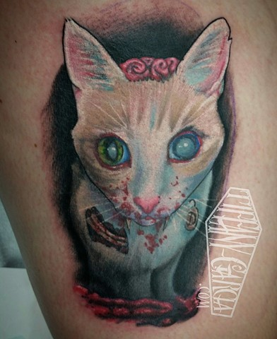Zombie Kitty done by female tattoo Artist Tiffany Garcia