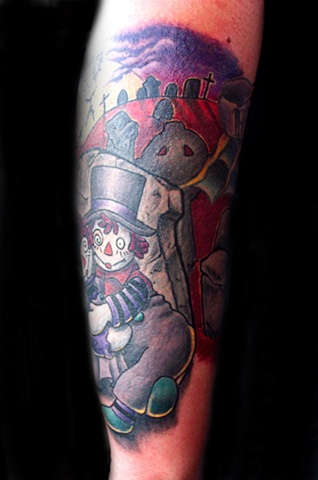 Gothic Raggedy Anne & Andy  by Tiffany Garcia Female Tattoo Artist located in Long Beach, Orange County, LA, Carson, Palos Verdes, Los Angeles, West Hollywood, Pacific Coast Highway and surrounding areas in Southern California.
