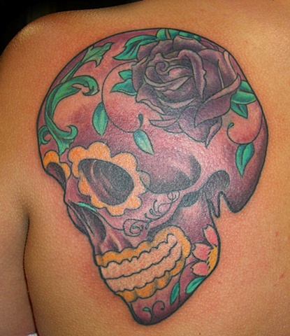 Coverup Sugar Skull by Tiffany Garcia Tattoo Artist Original Custom Tattoos located in Long Beach, Huntington Beach, Carson, Palos Verdes, Los Angeles, West Hollywood, Pacific Coast Highway and surrounding areas in Southern California.