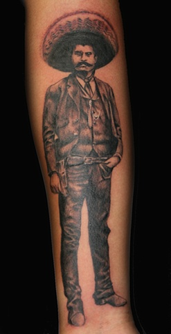 Zapata Black and Grey by Tiffany Garcia Tattoo Artist located in Long Beach, Huntington Beach, Carson, Palos Verdes, Los Angeles, West Hollywood, Pacific Coast Highway and surrounding areas in Southern California.  Original Custom Tattoos