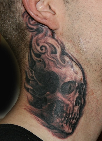 Skull on Neck by Tiffany Garcia Tattoo Artist Original Custom Tattoos located in Long Beach, Huntington Beach, Carson, Palos Verdes, Los Angeles, West Hollywood, Pacific Coast Highway and surrounding areas in Southern California.
