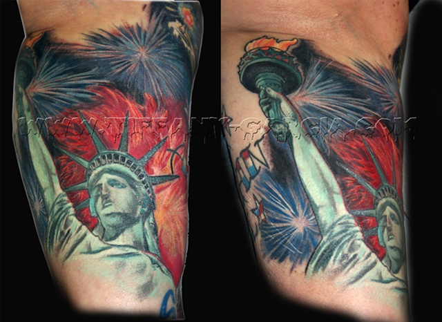 Lady Liberty by Tiffany Garcia Female Tattoo Artist located in Long Beach, Orange County, LA, Huntington Beach, Carson, Palos Verdes, Los Angeles, West Hollywood, Pacific Coast Highway and surrounding areas in Southern California.