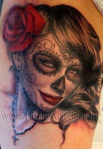 Day of the Dead  Beauty by Tiffany Garcia Female Tattoo Artist located in Long Beach, Orange County, LA, Huntington Beach, Carson, Palos Verdes, Los Angeles, West Hollywood, Pacific Coast Highway and surrounding areas in Southern California.
