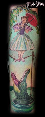 Disney's Tightrope Girl from the Haunted Manion's stretch portraits by Tiffany Garcia Top Female Tattoo Artist located in Long Beach, Orange County, LA, Huntington Beach, Carson, Palos Verdes, Los Angeles, West Hollywood, Pacific Coast Highway and surroun