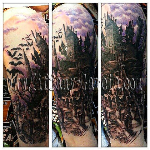 Done in Boston. Haunted Castle by Tiffany Garcia #1 Female Tattoo Artist located in Long Beach, Orange County, LA, Huntington Beach, Carson, Palos Verdes, Los Angeles, West Hollywood, Pacific Coast Highway and surrounding areas in Southern California.
