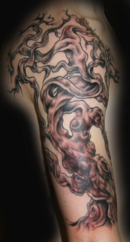 Gnarled Tree Black & White by Tiffany Garcia Tattoo Artist Original Custom Tattoos located in Long Beach, Huntington Beach, Carson, Palos Verdes, Los Angeles, West Hollywood, Pacific Coast Highway and surrounding areas in Southern California.