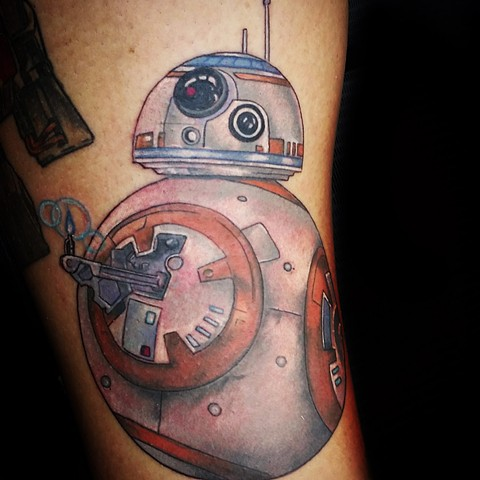 BB8 from Star wars by Female tattoo artists Tiffany Garcia