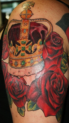 Majesty's Crown and Red Roses by Tiffany Garcia Tattoo Artist  Custom Tattoos located in Long Beach, Huntington Beach, Carson, Palos Verdes, Los Angeles, West Hollywood, Pacific Coast Highway and surrounding areas in Southern California.