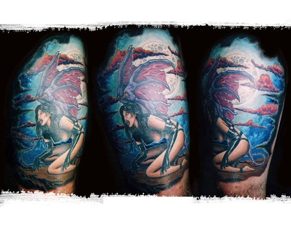 Won 2nd for Best Leg 2005 by Tiffany Garcia Tattoo Artist located in Long Beach, Huntington Beach, Carson, Palos Verdes, Los Angeles, West Hollywood, Pacific Coast Highway and surrounding areas in Southern California.    Original Custom Tattoos